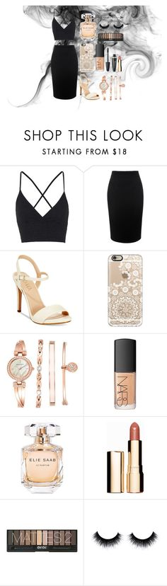 night out xo by larnyssxo on Polyvore featuring beauty, NARS Cosmetics, Clarins, Elie Saab, Casetify, Anne Klein, Topshop, Alexander McQueen, XOXO and Max Factor