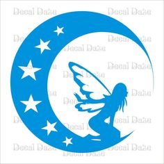 Vinyl Wall Decal Fairy Looking Down from the Moon by DecalDaze, $15.00