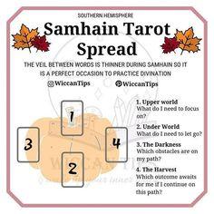 Samhain tarot spread 3 Card Tarot Spread, Tarot Card Spreads, Tarot Cards, Pentacle, Yule, Samhain Traditions, Pagan Festivals, Witch Board, Samhain Halloween