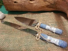 Rustic wedding cake knife server set. Handmade with lace and upcycled denim. https://www.etsy.com/listing/156918888/rustic-wedding-cake-server-knife-set