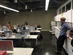 Mac Premo visiting with Graphic Design