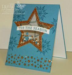 Stampin' Up! Many Merry Stars shaker card. Debbie Henderson, Debbie's Designs.