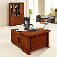 Office furnitureveneer office desk modern walnut color L