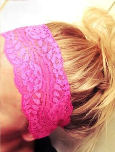 Want this -- Soft Wide Stretch Lace Headbands Hair Neon Pink Orange Green Yellow Blue Yoga Fitness Workout Headbands Non Marking No Headaches FREE SHIP