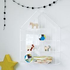 """The invisible house wall shelf is the clear choice when it comes to displaying trinkets and treasures in your home.  We're sure you can see why. Details, detailsNod exclusiveClear acrylic house shaped wall shelfEach shelf is 5"""" deepGreat for storing and displaying small toys, trinkets and treasuresCan hold up to 75 lbs. Keyholes on back for easy hangingHanging hardware and instructions includedPerfect for any room in the houseShow 'em what you're made ofAcrylic."""