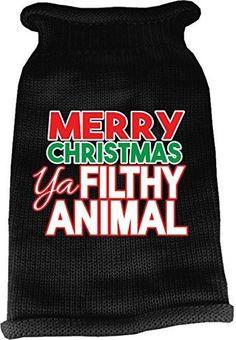 Mirage Pet Products 621-16 XSBK Ya Filthy Animal Screen Print Knit Black Pet Sweater, X-Small