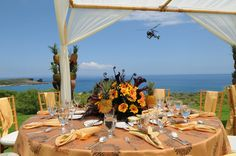 Guests arriving via helicopter at Four Seasons Manele Bay on L'anai. Pure paradise.