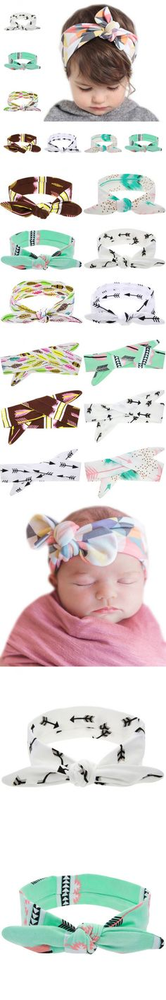 2016 Lovely Baby Headband Fashion Bunny Ear Girl Headwear Bow Elastic Knot Headbands DIY Bowknot Headwear Hair Accessories