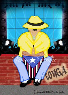 8 x 10 conga player print ready to frame with mat by vintagebruja, $20.00