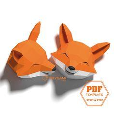 Fox papercraft 3D animal wall decor 2 fox head patterns with