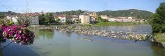 The river Adour seen from the bridge at Aire-sur-l'Adour, France