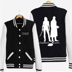 Captain swan baseball jackets for men Once Upon a Time fleece sweatshirt