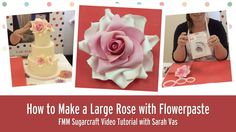 How to make a Large Rose with Flowerpaste l FMM Sugarcraft tutorial Icing Flowers, Gum Paste Flowers, Fondant Flowers, Sugar Flowers, Sugar Rose, Fondant Flower Tutorial, Rose Tutorial, Wedding Cake Roses, Wedding Cakes
