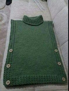 Poncho Infantil, Tricotado No - Diy Crafts - Qoster Knit Vest Pattern, Poncho Knitting Patterns, Knitted Poncho, Loom Knitting, Knit Patterns, Crochet Shirt, Knit Crochet, Crochet Vests, Crochet Cape