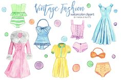 Watercolor Clip Art - Fashion by Maria B. Paints on Creative Market