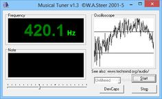 Musical Tuner 1.3 - An easy to handle oscilloscope rendering and audio tuner listening application that uses external sound signals to determine the frequency response of the soundcard