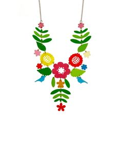 Mexican Embroidery Necklace, Multi - Back from the Tatty Devine archives, the original colourway of the Mexican Embroidery Necklace has returned for 2016! Inspired by traditional embroidery, delicate flower, leaf and bird motifs are laser cut in summery shades of acrylic; individually hand linked together to form a stunning silhouette that moves beautifully when worn. Style with print and pattern, or layer over a plain dress and let this vibrant necklace shine.
