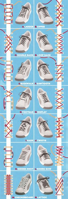 A helpful how-to guide for various shoelace patterns.