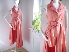 Vintage Jumpsuit / Peach 80s 90s overall / Italian Vintage dress over high waist shorts / onesie / shorts / belted dress / Tunica/ Medium by SuitcaseInBerlin on Etsy