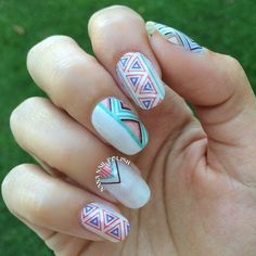 Summer Nail Art Polka Dots and Metallics Tribal Nails Purple Nail, Pink Purple, Cute Nail Art, 3d Nail Art, Gorgeous Nails, Love Nails, Tribal Nails, Diy Nail Designs, Creative Nails