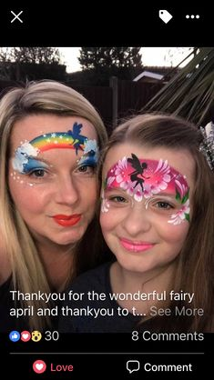 One stroke fairies with stencils #facepainting