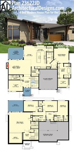 plan 23622jd 4 bed modern house plan for the sloping lot - Modern House Plan