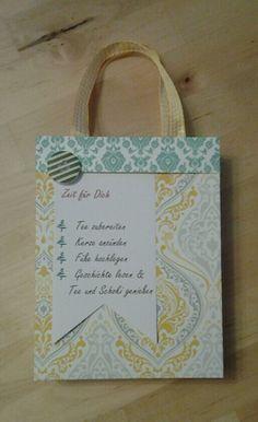 Meine Tüte - Zeit für dich. Mit Stampinup DSP und Henkeln aus Band. creativ by maro