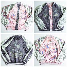 Japanese Classic Script Butterflies Birds Floral Kawaii Sukajan Souvenir Embroidered Jacket - Japan Lover Me Store