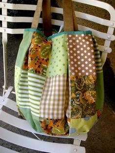 beige/green handmade patchwork bag by Ada