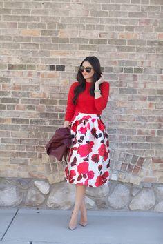 Modest knee length red & pink rose print midi skirt | Mode-sty #nolayering