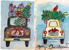 christmas art Draw a Christmas Car: Holiday Art Project for Kids Christmas Art For Kids, Christmas Art Projects, Christmas Car, Winter Art Projects, Christmas Drawing, Cool Art Projects, Vintage Christmas, Christmas Crafts, Deep Space Sparkle