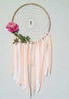 Bohemian Dreamcatcher, Boho Chic, Pink and White Fabric, Large Purple Flower, Feather, Boho Decor, Baby Boho, Girls Nursery, Large size