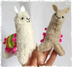 Handmade Soft Llama Finger Puppet with Aztec Coat by BettiesPets