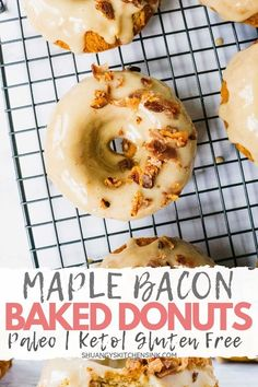 Fluffy and Moist Healthy Maple Bacon Donuts that are Paleo, Gluten Free, and Keto Friendly, yet so delicious! The perfectly easy keto donut ecipe to make. Protein Donuts, Keto Donuts, Healthy Donuts, Gluten Free Donuts, High Protein, I Have Breakfast, Quick Keto Breakfast, Breakfast Recipes, Breakfast Cereal