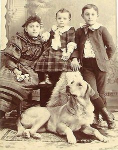 >>  Antique LARGE Beautiful DOG & Children Crystal CLEAR Clarity Cabinet PHOTO   | eBay