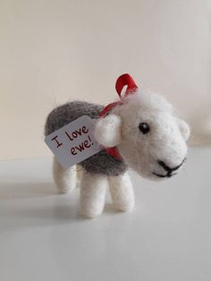 Needle felted sheep felted Herdwick sheep I love ewe Needle Felted Animals, Felt Animals, Needle Felting, Valentine Day Gifts, Valentines, Felt Ornaments, Lambs, Wedding Anniversary Gifts, Red Ribbon