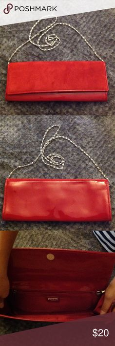 Red Aldo clutch Beautiful red Aldo Clutch with removable chain shoulder strap. Used a total of 1 time😩 for a wedding. The front flap is a red velvet feel so cute! Been in closet way too long. Aldo Bags Clutches & Wristlets