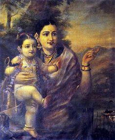Sri Krishna with foster mother Yesoda, by Raja Ravi Varma