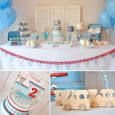 Trains, Plaid Print Birthday Party Ideas | Photo 1 of 9 | Catch My Party