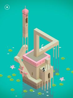 Simple colors and shading. 3D graphics. Monument Valley Game.