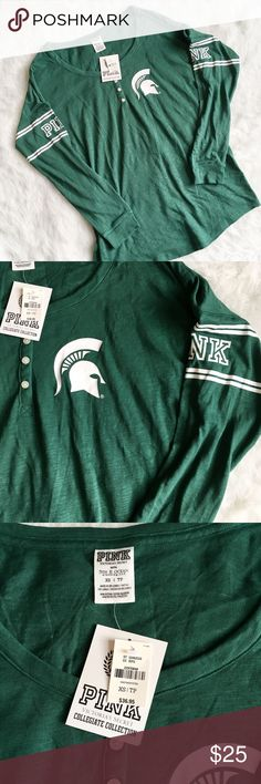 PINK Collegiate MSU Henley Relaxed fitting henley style top from the PINK Collegiate line. Size XS but will fit XS thru M depending on how you want it to fit. Get ready for tailgate season! GO GREEN!  PINK Victoria's Secret Tops Tees - Long Sleeve