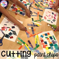 Paint chip collage! Construction themed centers and activities my preschool & pre-k kiddos will LOVE! (math, letters, sensory, fine motor, & freebies too)