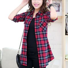 0dc89ff50a 2015 Fall Plaid Shirts Women Long Sleeve Fitted Cotton Plaid Shirts Female  With Pockets Casual Tops ropa mujer camisa feminina