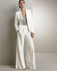 """""""GroomsBitches"""" Pant Suit Inspiration: Donna Karan Collection Monte Carlo Jacket & Fluid Wide-Leg Trousers- Originally sold through Bergdorf Goodman- Pants currently available at Nordstrom!"""
