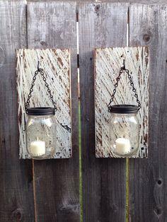 Barn wood mason jar wall sconce on Etsy, $40.00