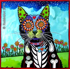 RobiniArt portrait of Walter the Cat, © RobiniArt, 2014, acrylic and pen on panel. Inquiries at www.robiniart.com/contact or RobiniArtist@gmail.com. #cat #tabbycat #tabby #sugarskull #dayofthedead #folkart #robiniart #petportrait #petportraits