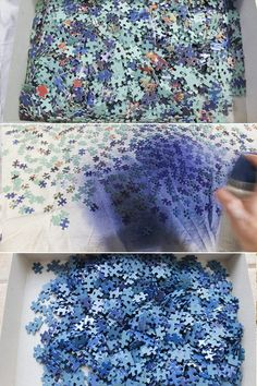 DIY Upcycled Puzzle Map Wall Art How to repurpose old puzzles with missing pieces into a beautiful statement piece of map wall art. Includes tips on two methods for attaching the stained frame. Puzzle Piece Crafts, Puzzle Art, Puzzle Pieces, Diy And Crafts, Arts And Crafts, Map Wall Art, Recycled Art, Diy Wall, Christmas Diy