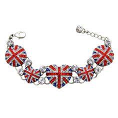 Crystal Union Jack Shapes Link Bracelet