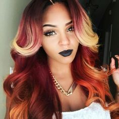 red hair, black girl, orange hair, ombre hair, black womens inspiration http:www.belacahair.com/