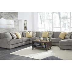 Fallsworth Smoke RAF Large Sectional from Ashley Sectional Living Room Sets, Large Sectional Sofa, Living Room Furniture Layout, Couch Sets, Dark Grey Sectional, Modern Sectional, Classic Living Room, Living Room Grey, Home Living Room
